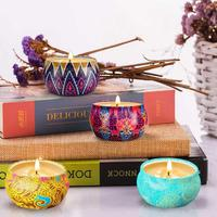 Soy wax aromatherapy candle plant essential oil smokeless candle tin can cup candle four piece gift box set