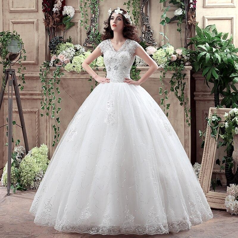 Luxury Princess Ball gown V neck Lace plus size Wedding gowns Wedding Dresses 2017 vestidos de
