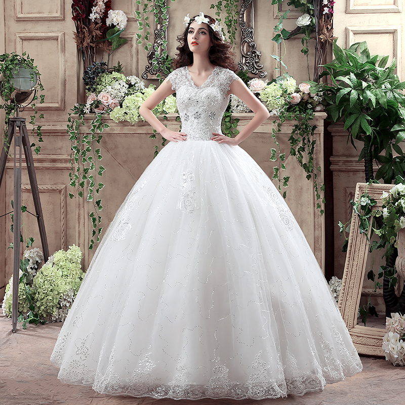 Luxury princess ball gown v neck lace plus size wedding for Princess plus size wedding dresses