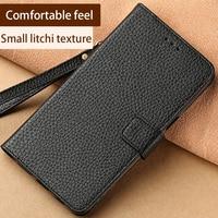 wangcangli Mobile phone bag Genuine Leather for Samsung bag high quality Plain Vintage Anti knock dirt resistant Kickstand black