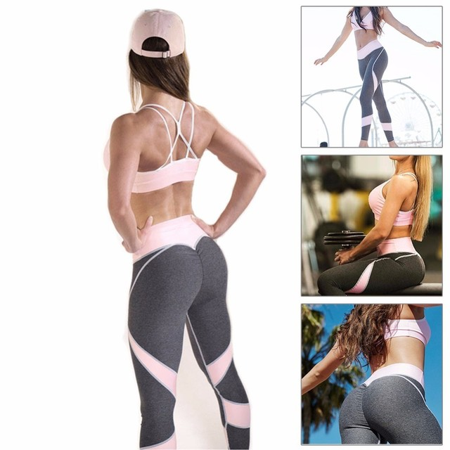 2017 Fitness Patchwork Sport Legging Yoga Pants Tight Elastic Jogging Gym High Waist Slim Compression Pants Women Hip Push Up