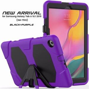 Image 4 - Противоударный чехол для планшета повышенной прочности для Samsung Galaxy Tab A 10,1 2019, T510, T515, искусственная кожа, мягкий силиконовый чехол, чехол