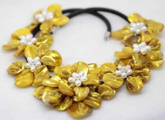"""Beauté jaune nacre shell fait à la main 7 collier de fleurs 18 """"bijou de mode"""