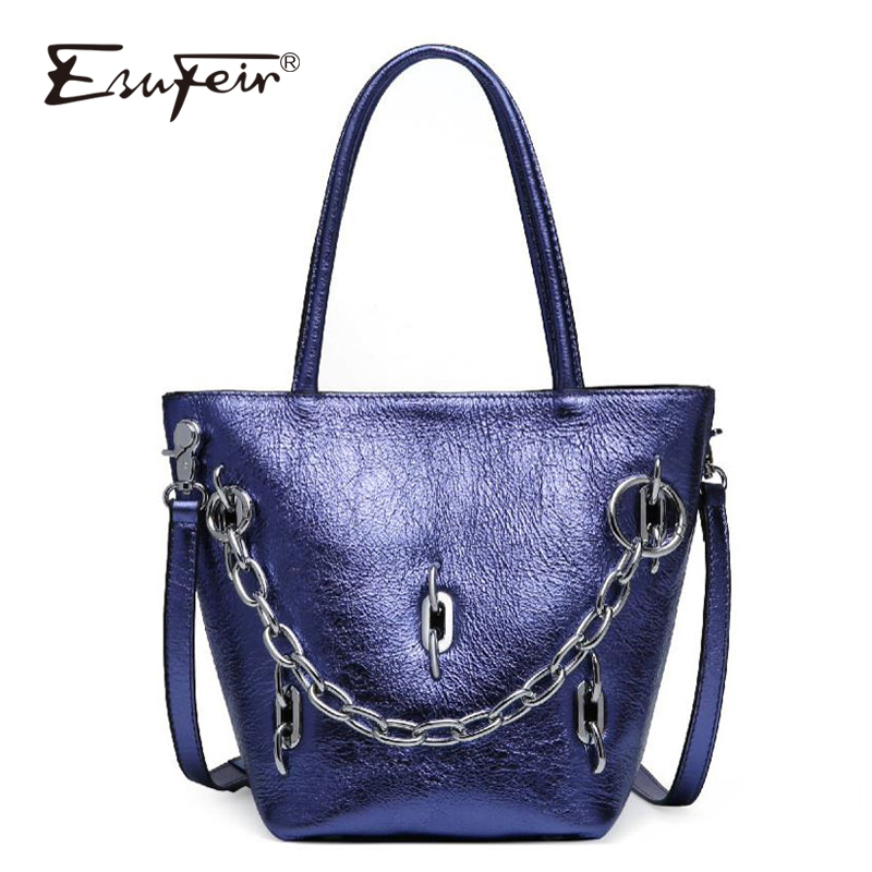 ESUFEIR Brand Genuine Leather Women Handbags Fashion Crossbody Bag Shoulder Bag chain bucket bag designer large capacity handbag gorden yi de luxury brand designer bucket bag women leather wide strap shoulder bag handbag large capacity crossbody bag color 8