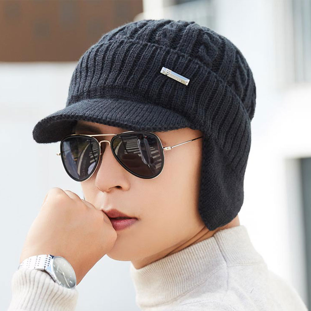 Initiative Thick Outdoor Earmuffs Soft Knitted Hat Warm Winter Beanie Cold-proof Skullies Men Cap Lining Bonnet Solid Cycling Evident Effect