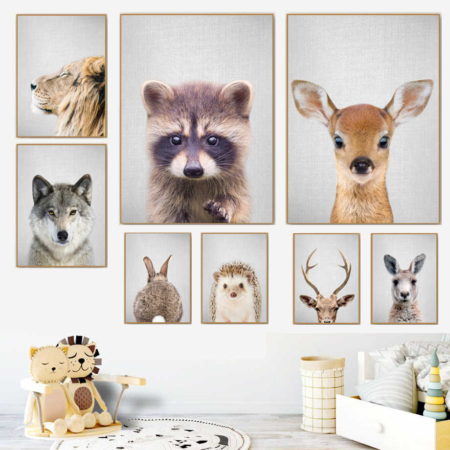 Lion Deer Raccoon Rabbit Wall Art Canvas Painting Nordic Poster And Print Animal Wall Pictures Kids Baby Room Scandinavian Decor
