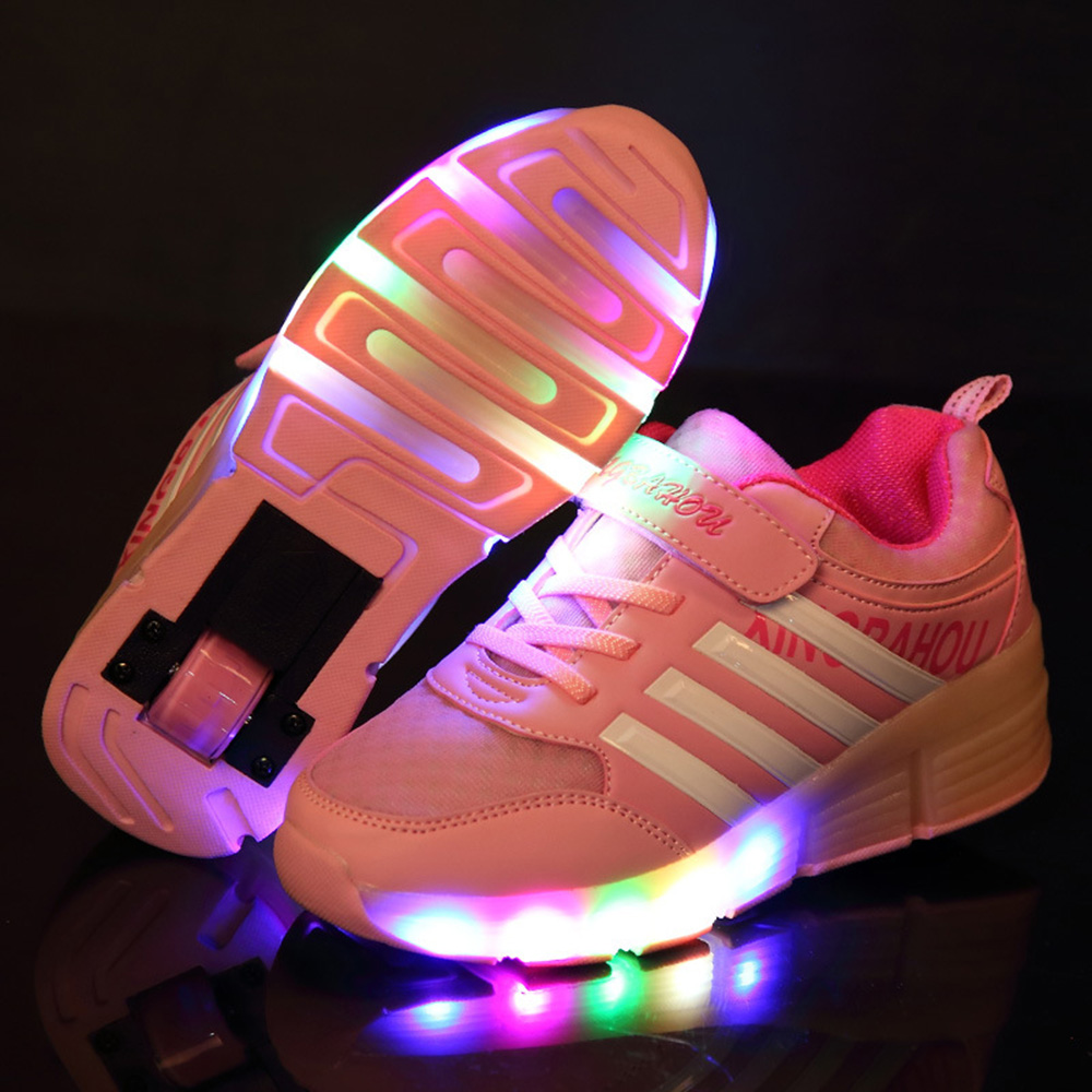 Led Lights Children Sneakers Shoes with Wheels Kids Roller Shoes Boys Girl Sneakers Zapatillas Con Ruedas Pink Black Red