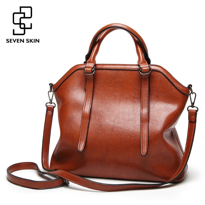 SEVEN SKIN Brand Leather Women Bags High Capacity Shoulder Bags for Women Luxury Handbags Female Large Tote Bag Crossbody Bag seven skin brand women shoulder bag female large tote bag ladies pu leather top handle bags luxury handbags women bags designer