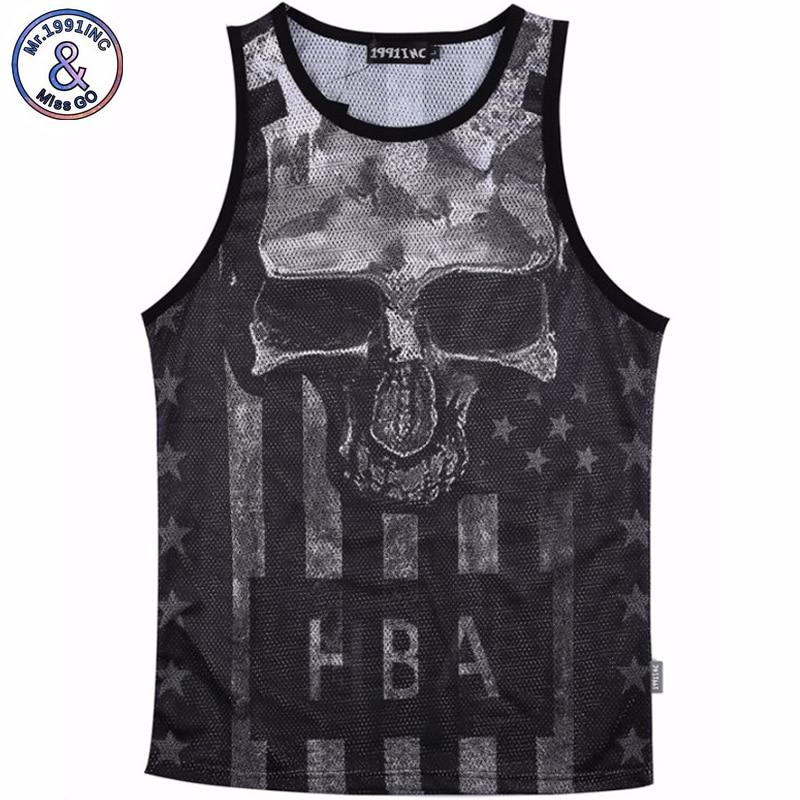 Men Summer Tank Tops Skull printing 3D Mesh Vest Jersey Sleeveless tee shirts For Men's Size M-XXL