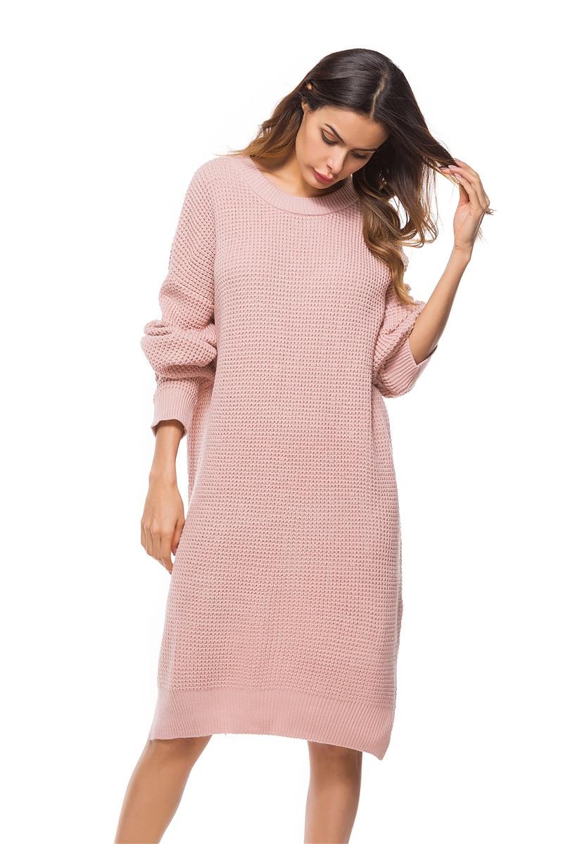 Fall Winter Vintage Mustard Side Slit Crochet Sweater Dress for Women Cute Ladies Retro Cosy Loose Split Pullover One Size 29