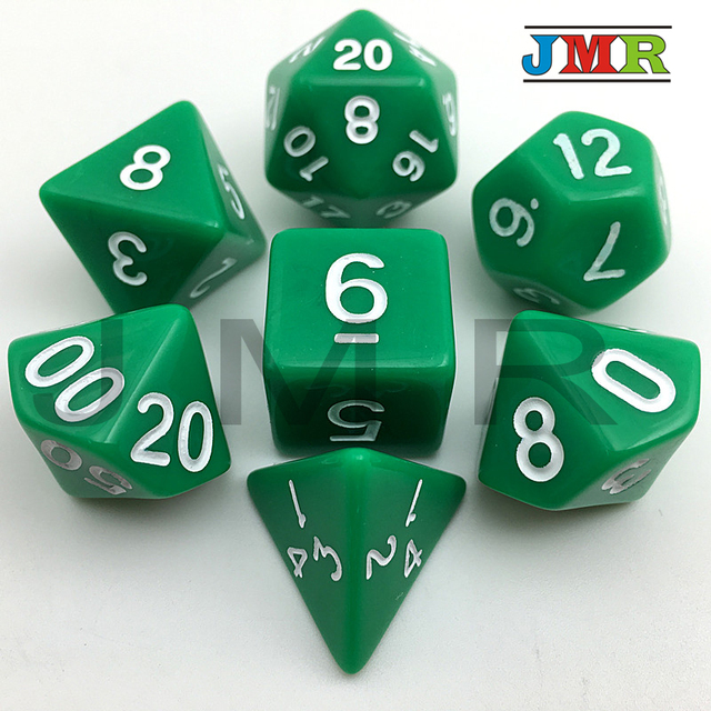 High Quality Green with White Ink Color 7pc/lot Opaque Dice Set D4,D6,D8,D10,D10%,D12,D20 Polyhedral Dice Dnd Rpg Playing Game