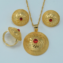 2016 NEW ethiopian jewelry sets necklace pendant clip earrings ring  gold plated habesha african bride wedding set eritrea