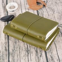 レトロジャーナル旅行スパイラルノートブック、本革パスポートポータブルサイズ日記プランナー小さなハンドブックギフト