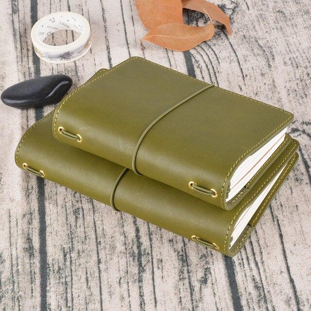 רטרו יומן נוסע מחברת ספירלה, אמיתי עור דרכון נייד גודל יומן מתכנן חוברת קטנה מתנה