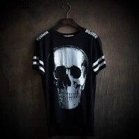 Close Skin Fashion High Quality Man Skull Dark Irregular Popular Printing Short Sleeve T Shirt T