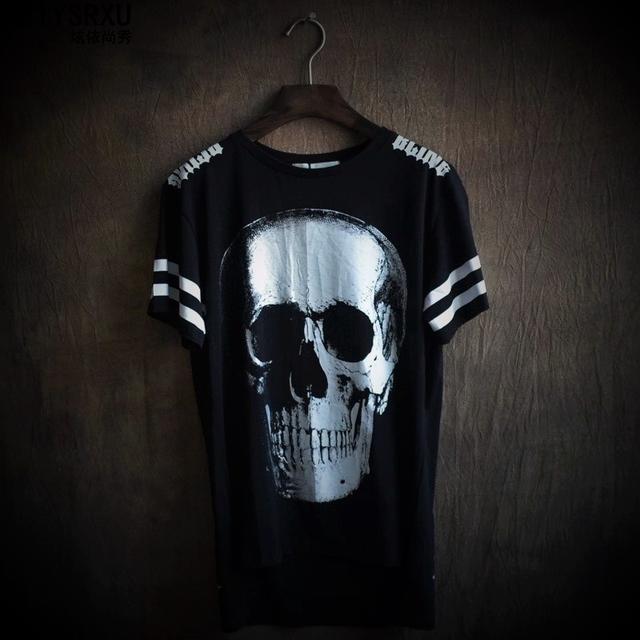 Perto Da Pele de Moda de Alta Qualidade Homem Crânio Irregular Escuro Populares Impressão Camisa de Manga Curta T Masculino Grandes Estaleiros T Camisas
