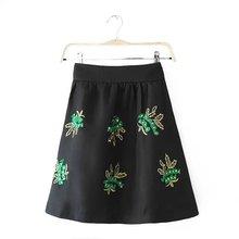 Nice Summer Women Black Skirt Embroidery Sequins Decorated Skirt Casual Slim A-Line Skirt Elegant Generous Skirt EN25