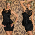 Women White Black Solid Peplum Fashion Casual Dress 2016 Wholesale Price Promotion Sexy Women Summer Lace Dress W3010
