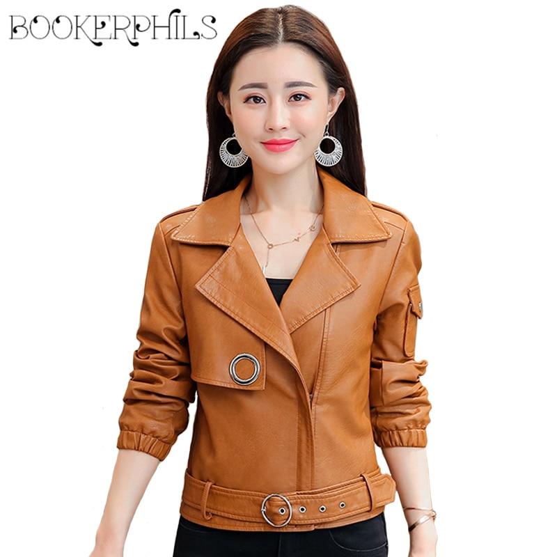 824fef7b7fc89 Women Winter Coat 2018 Plus Size Soft Faux Leather Jacket Autumn Short Ladies  Motorcycle Washed PU Leather Basic Jackets 4XL