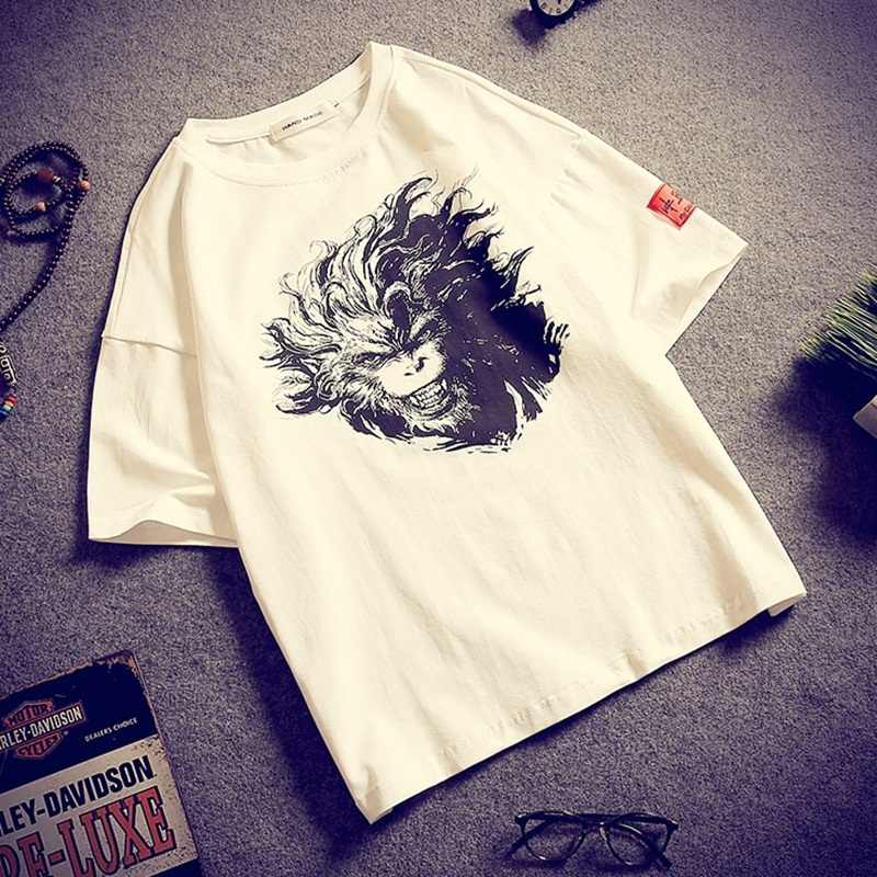 Sun wukong Мужская рубашка с принтом Обезьяна Король рубашки традиционная китайская одежда для мужчин Кунг-Фу рубашка Восточная мужская одежда TA315