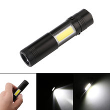 2000LM Mini Portable LED Flashlight Torch with Clip XPE LED+COB Flashlight 4 Modes Penlight Hunting Camping Light Use AA/14500(China)