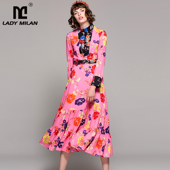 New Arrival Womens O Neck Long Sleeves Floral Printed Tiered Ruffles Patchwork Mid Calf Casual Runway Dresses