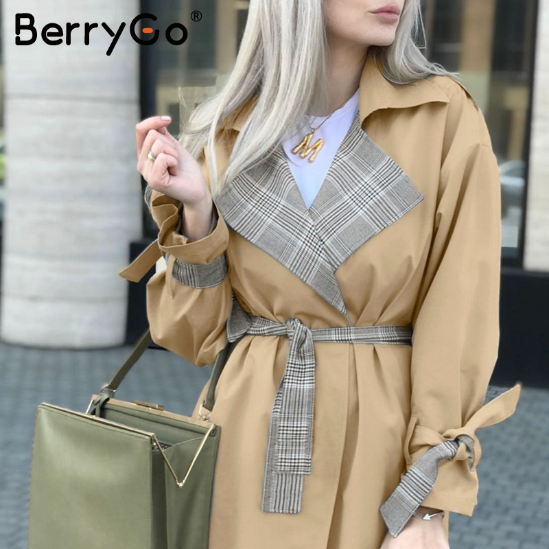 BerryGo Turn down collar women trench coat Vintage sashes plaid autumn winter long outwear Belt pockets office ladies overcoats 3