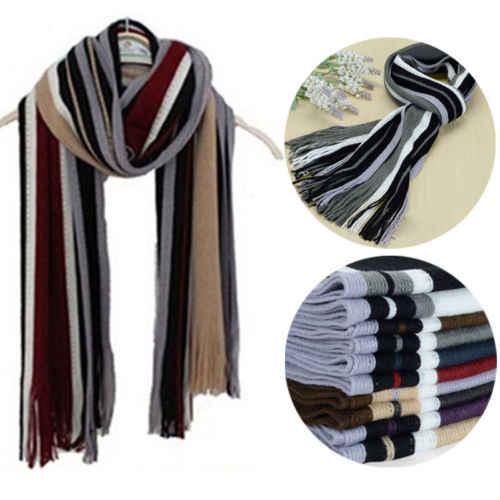 Hirigin классический мужской зимний теплый женский кашемировый шарф-Пончо длинный полосатый шарф из искусственной шерсти мягкий шарф шаль Новинка