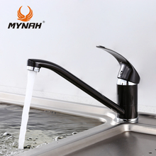 MYNAH Russia free shipping New Arrival Kitchen faucet Kitchen Tap Single Hole Water Tap torneira cozinha Black M4903I