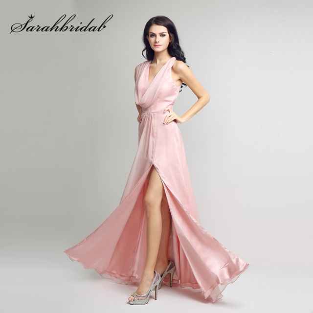 51a83a7f999d Sexy V-Neck Front Split Evening Dresses 2018 Simple Pink Chiffon A Line  Prom Gowns Zipper Back Formal Long Party Dress OL247