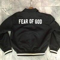 2018FW Fear Of God Fifth Collection Logo Embroidery Women Men Bomber Jackets Coat Hiphop Streetwear FOG Men Jacket