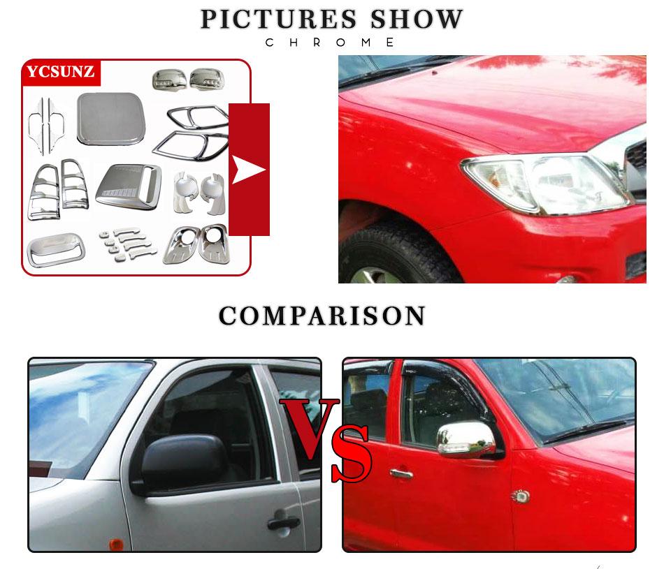4/piezas /2015/Deflectores de viento Set/ cromo /Doble Cabina Para Toyota Hilux 2005/