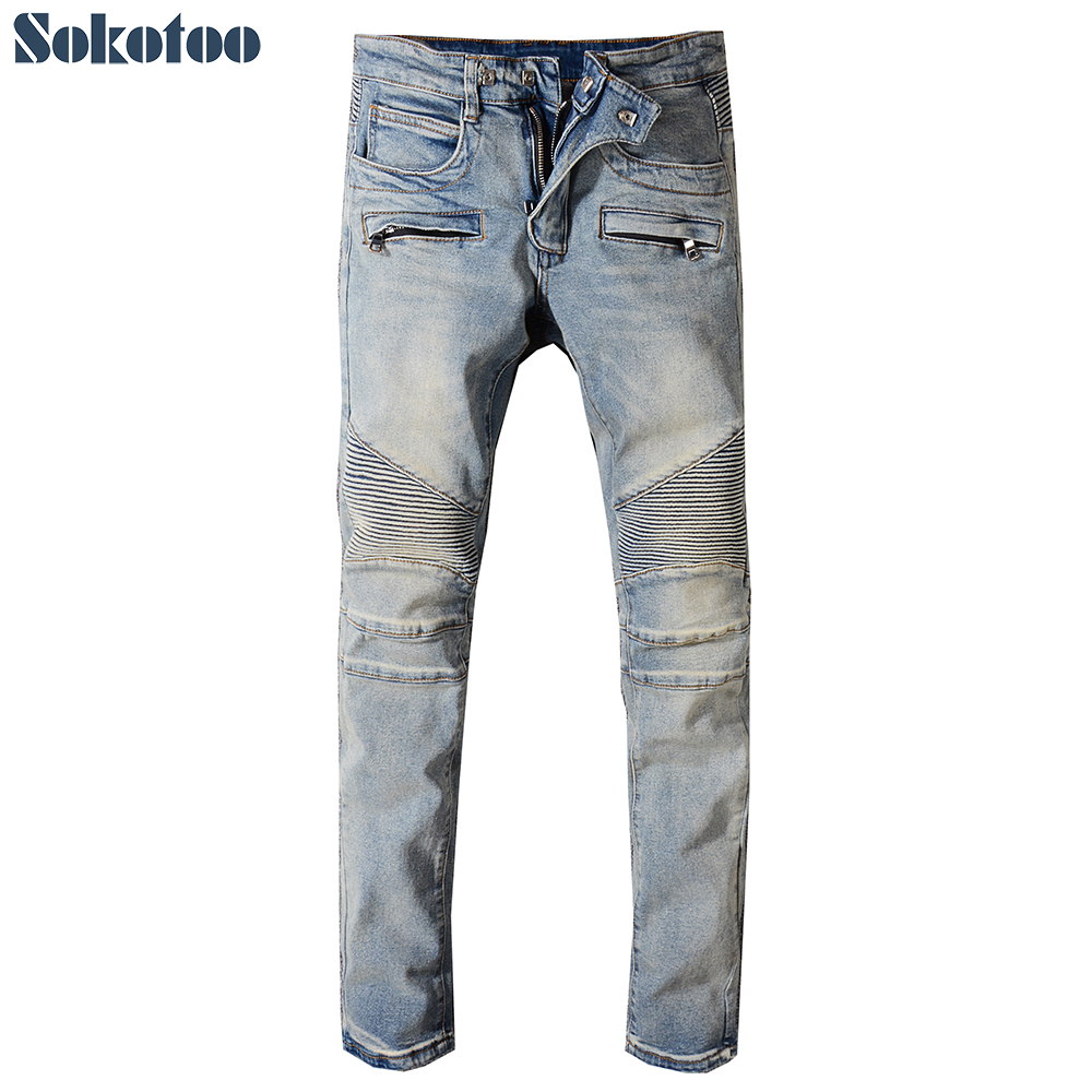 Sokotoo Men's Classic Vintage Blue Stretch Denim Biker Jeans For Moto Plus Size Patchwork Slim Fit Pants