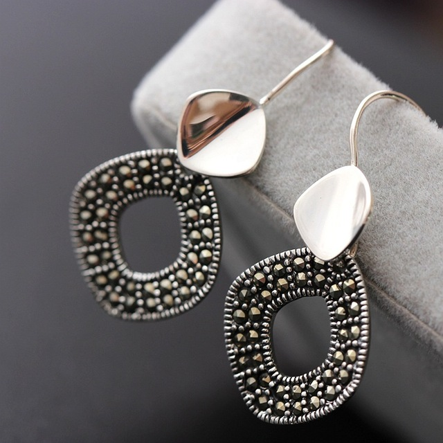 Pavilion silver wholesale 925 Sterling Silver Earrings with Marcasite Silver Earrings Sterling silver jewelry lady