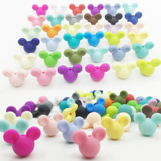 50pieces/lot Mickey Silicone Beads Baby Teething Beads 24*20*14mm Safe Food Grade Nursing Chewing Mickey Silicone Beads 27Colors