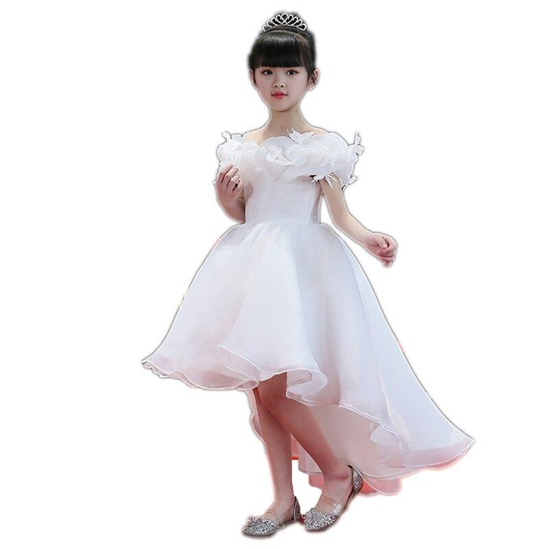 Children Elegant White Color Kids Girls Shoulderless Birthday Wedding Party Tailing Dress Baby Children Ball Gown Dresses E121
