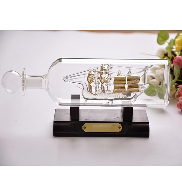 Decorative Sailing Boat in Bottle Ship Glass Office Hall Living Room ...