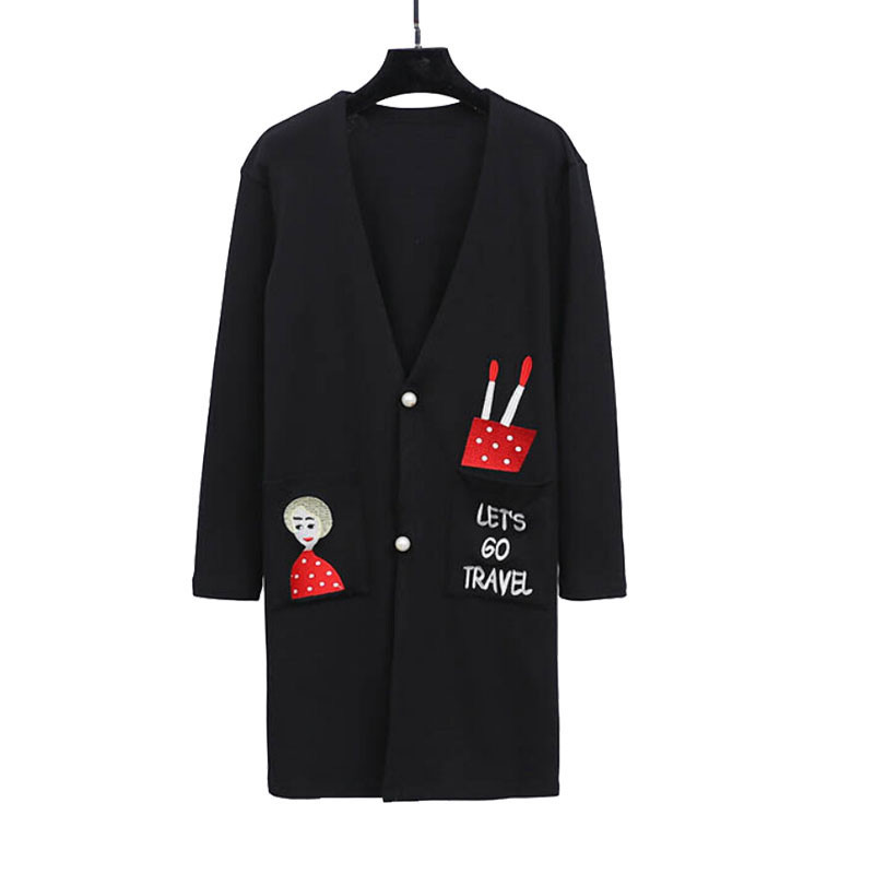 4XL Women Knitted Cardigan Big Size 2018 Autumn Long Style Embroidery Sweater Coat Single Breasted Casual Knitted Jacket SS828
