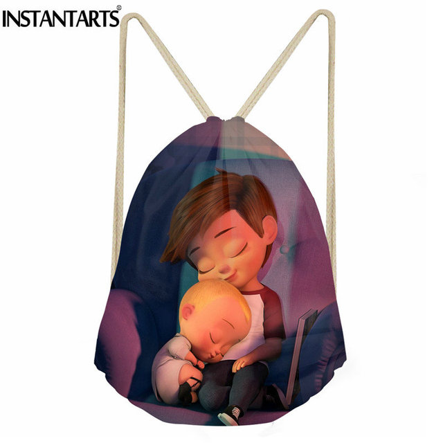 4ee7a777f261 INSTANTARTS Sport Gym Bag for Men Women Cartoon Boss Baby Printing Outdoor  Folding String Backpack Boys