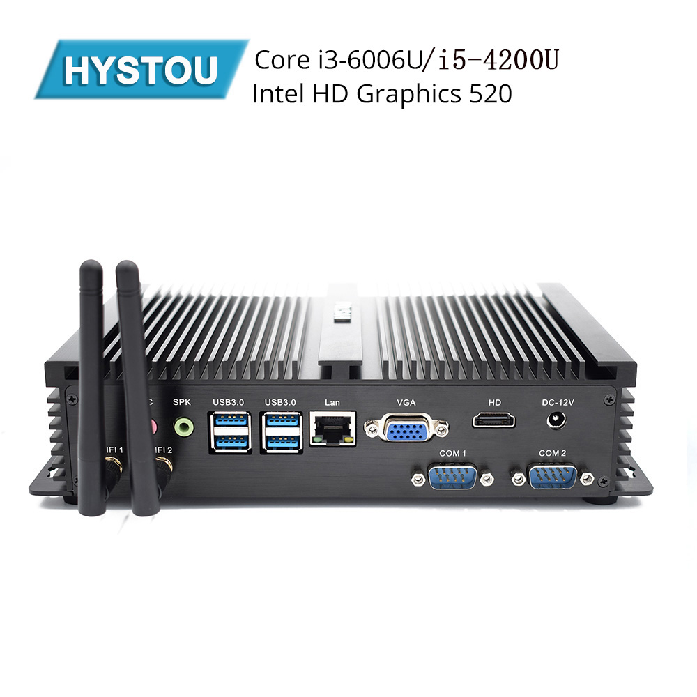 Hystou Fanless Mini PC I3 6006U I5 4200U Industrial Computer 2 COM HDMI VGA Dual
