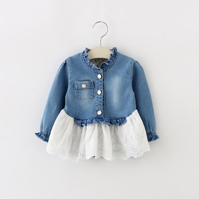 Новый 2016 весна осень детская джинсовая блузка мода младенцы девушки принцесса рубашки с длинным рукавом детские блузки для новорожденных одежда