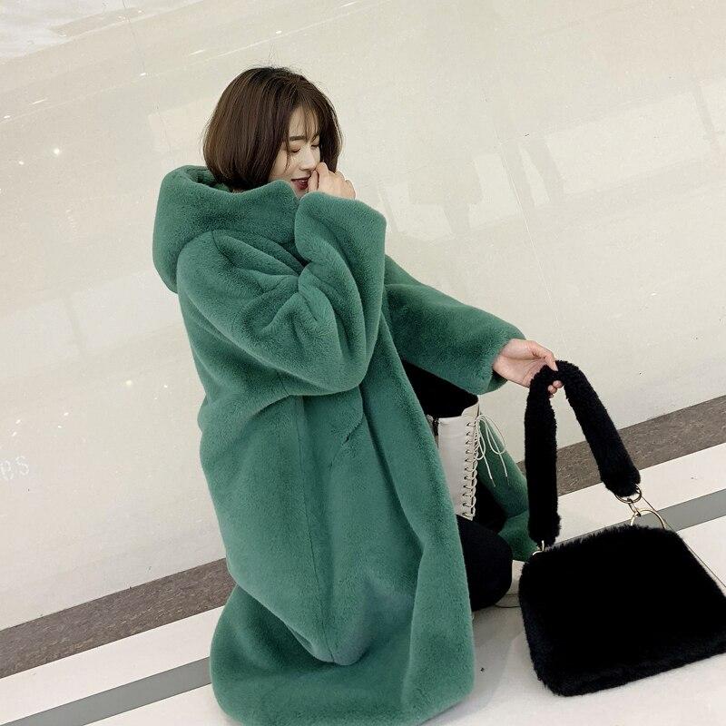 2019 automne hiver femmes épais imitation Fourrure De Vison à capuche lâche Plus La taille de fourrure artificielle Fausse fourrure manteau chaud haute- fin manteau de fourrure