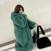 2019 autumn winter women thick imitation Mink Fur hooded loose Plus size artificial fur Faux fur coat warm high end fur coat