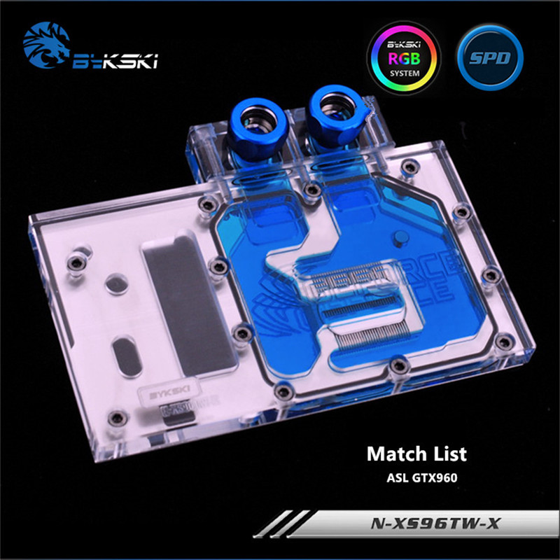Bykski Full Coverage GPU Water Block For ASL GTX960 Graphics Card N-XS96TW-X computador cooling fan replacement for msi twin frozr ii r7770 hd 7770 n460 n560 gtx graphics video card fans pld08010s12hh