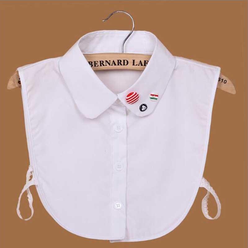 Ahkuci Women Shirt Sweater Fake Collar White Peter Pan Lapel Shirt False Collar Diamond Crystal Cotton Detachable Apparel