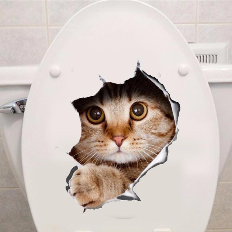 Винил водонепроницаемый кошка собака 3D стены Стикеры отверстие вид Ванная комната туалет Гостиная Домашний Декор Наклейка плакат Задний п...