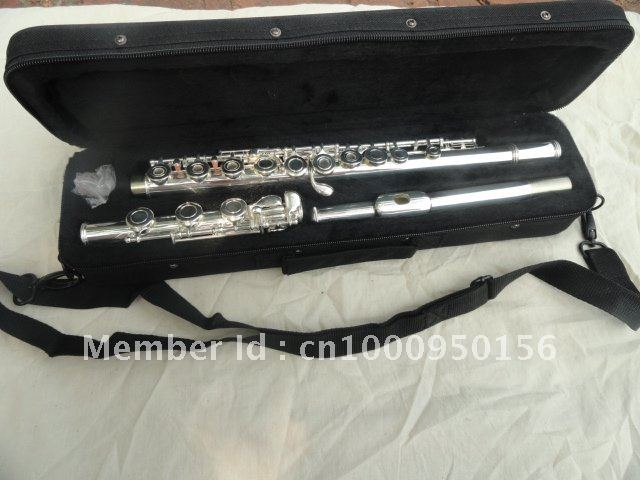 Professional Flute 17  Hole Openings C Tone  Flute Plus The E Key Surface Silver Plated Flute  FL-511SE Musical Instrument wholesale 17 e key trepanned dual flute musical instrument