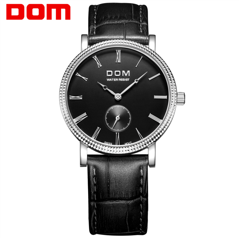 DOM mens watches top brand luxury waterproof quartz watch Business leather watch reloj hombre marca de lujo M-253L-1M mens watches top brand luxury 2017 aviator white automatic mechanical date day leather wrist watch business reloj hombre