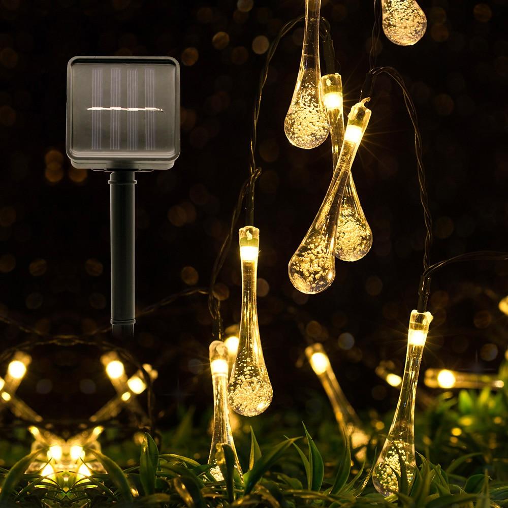 4.8M 6M Solar LED String Lights Flash Water Drop Fairy Lamp Sensor Waterproof For Wedding Christmas Outdoor Garden Decoration