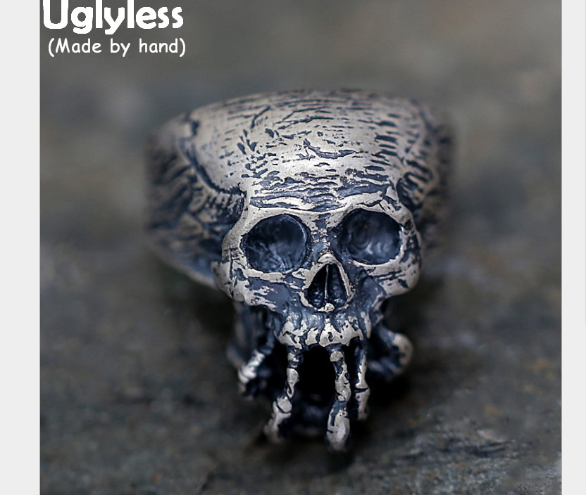 Uglyless Real 925 Sterling Silver Exaggerated Men Skull Rings Gothic Skeleton Finger Ring Novel Steam Punk Handmade Jewelry Cool xiagao cool punk real 316l stainless steel red ring men s big red crystal red stones finger rings for man gothic casting ring